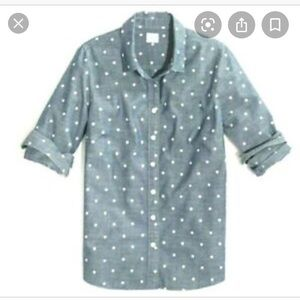 "J. Crew ""the perfect shirt"" polka dot chambray"